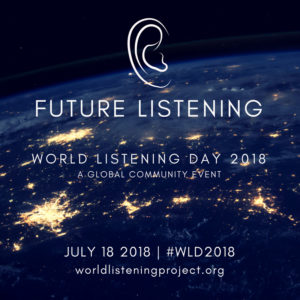world listening day 2018 logo, ,dark side of planet earth seen from space with brightly lit cities